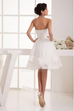 A-line Strapless Short Lace Bridal Wedding Dress WD010241