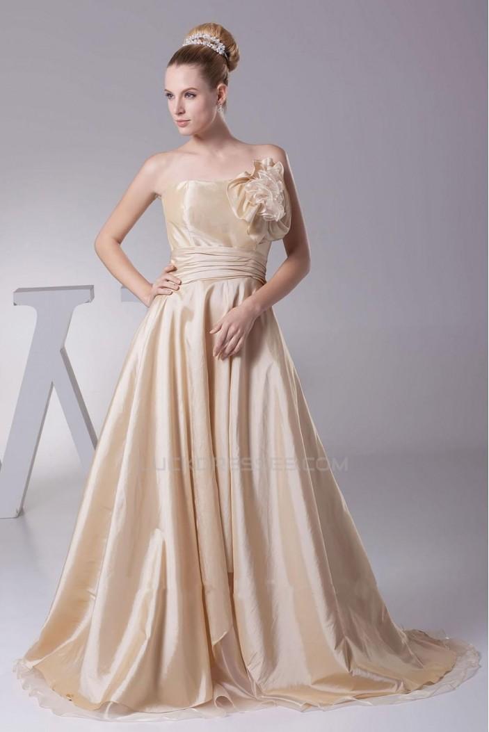 A-line Strapless Court Train Bridal Wedding Dress WD010242