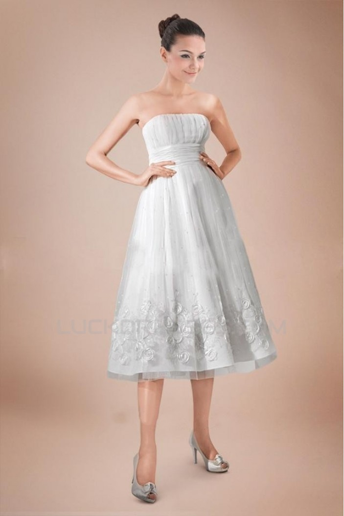 A-line Strapless Short Bridal Wedding Dress WD010243