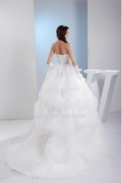 Ball Gown Strapless Court Train Bridal Wedding Dress WD010245
