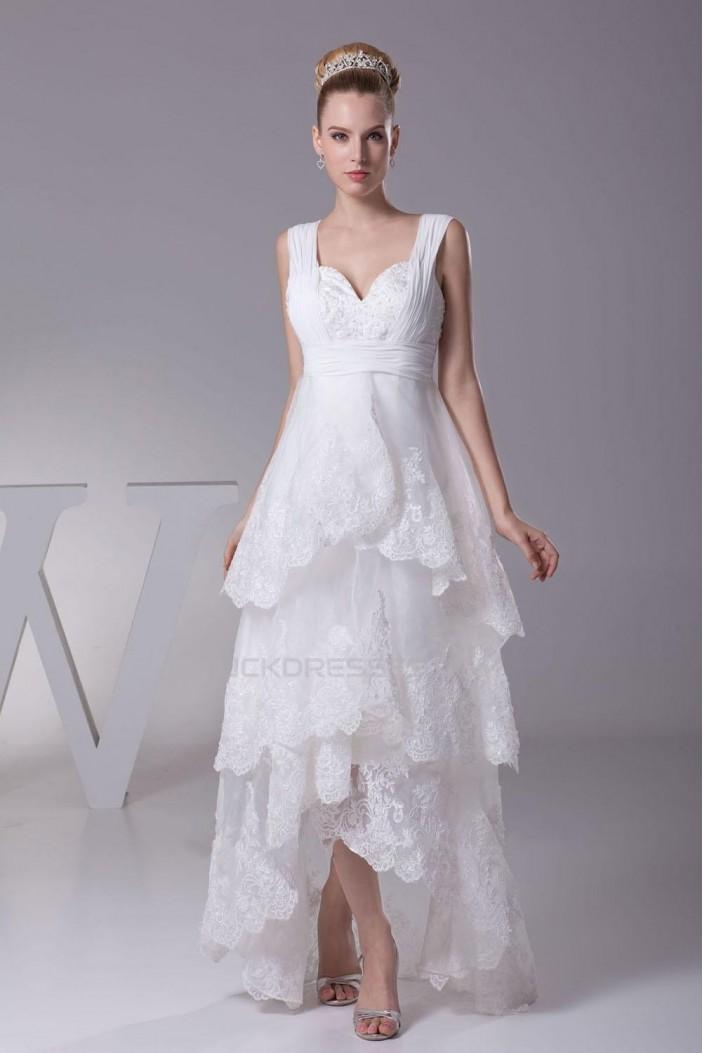 High Low Straps Applique Bridal Wedding Dress WD010249