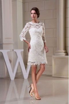 Short 3/4 Sleeves V-back Bridal Wedding Dress WD010251