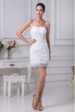 Short/Mini Strapless Beaded Applique Bridal Wedding Dress WD010255