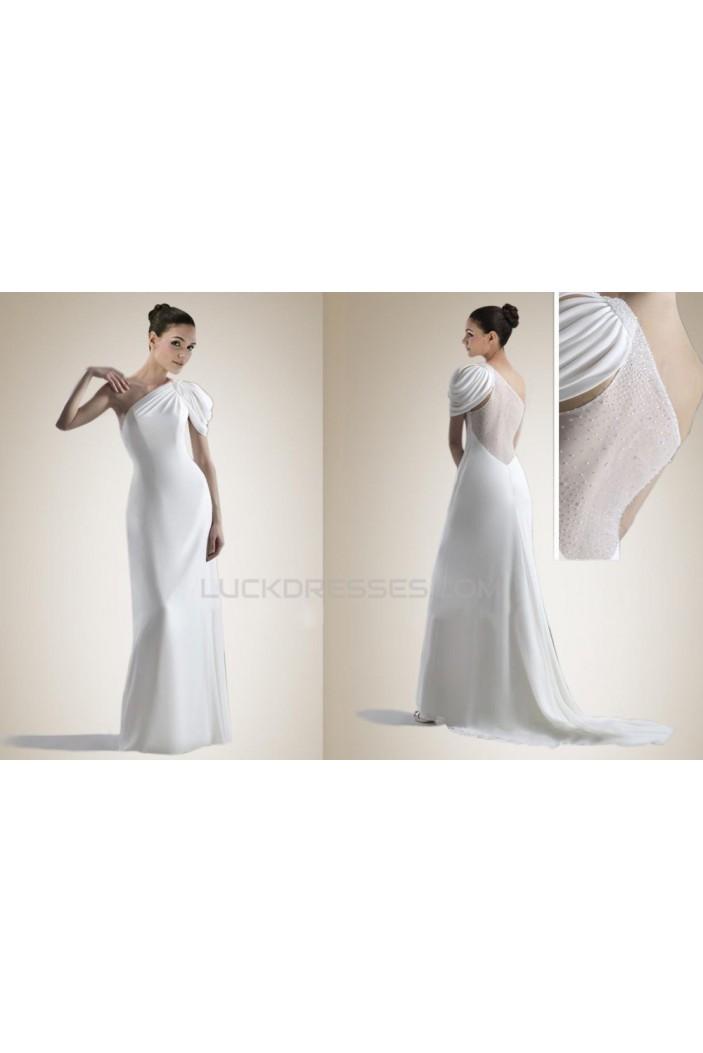 Sheath/Column One Shoulder Bridal Gown WD010260