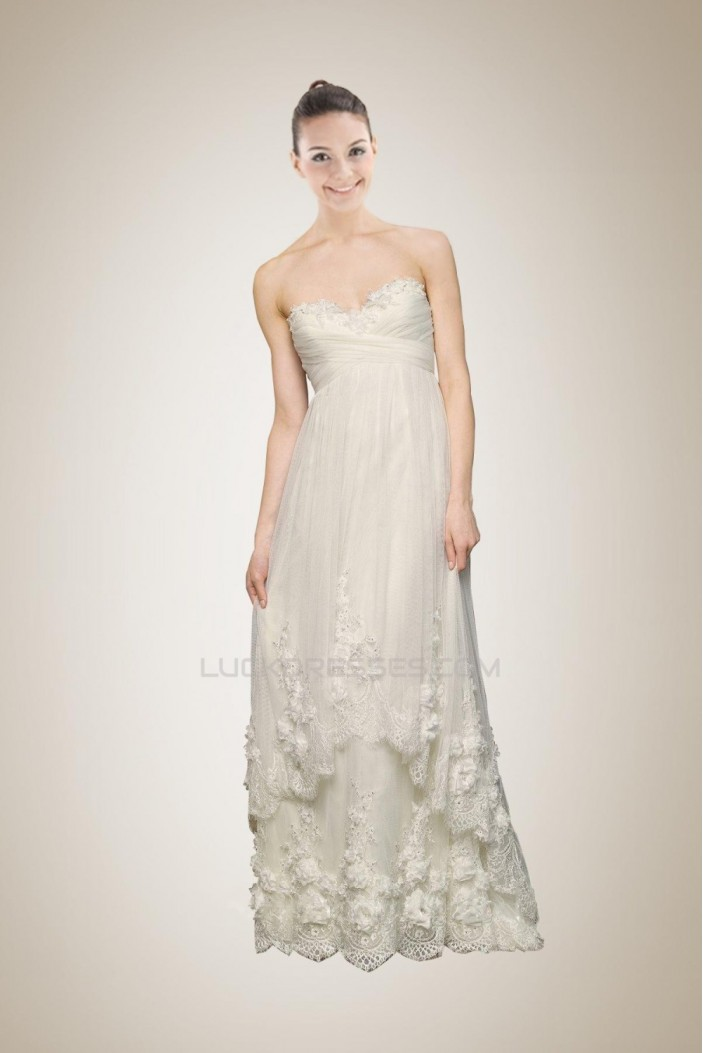 Empire Sweetheart Court Train Lace Bridal Gown Maternity Dresses WD010266