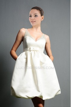 Short Ball Gown Beaded V-neck Bridal Gown WD010273