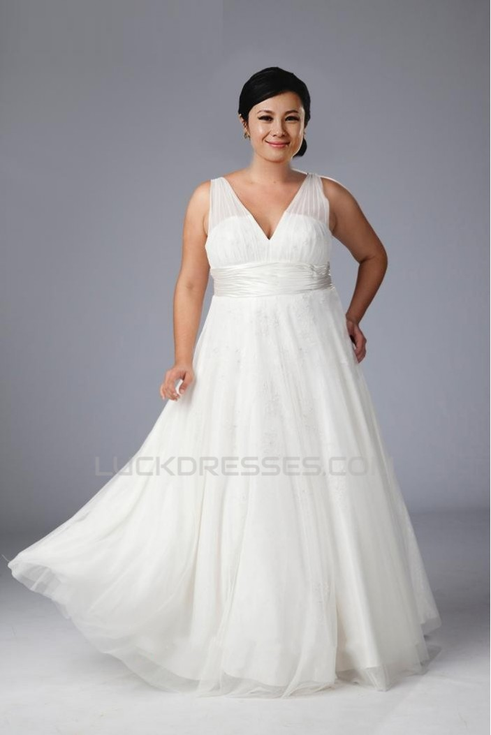 A-line V-neck Floor Length Plus Size Bridal Gown WD010274