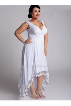 High Low Straps Lace Plus Size Bridal Gown WD010277