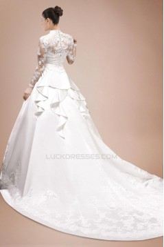A-line V-neck Long Sleeves Chapel Train Bridal Gown WD010278