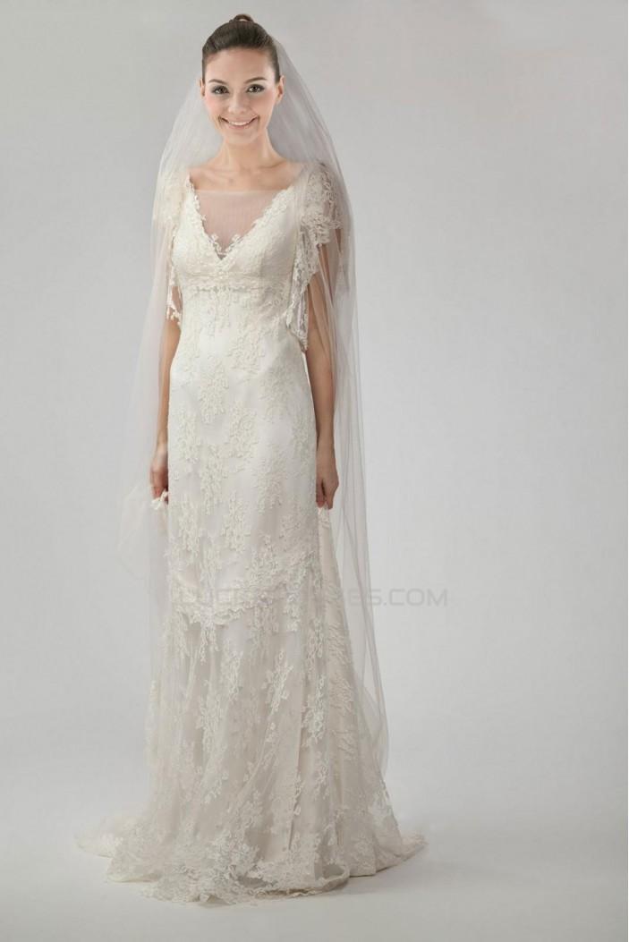 Elegant V-neck V-back Court Train Lace Bridal Gown WD010280