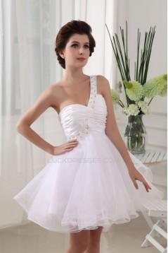 A-line One Shoulder Short/Mini Beaded Bridal Wedding Dresses WD010282