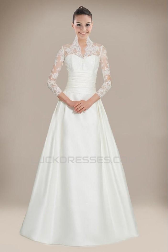 A-line Long Sleeves Court Train Bridal Wedding Dresses WD010283