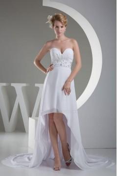 High Low Sweetheart Beaded Chiffon Bridal Wedding Dresses WD010286