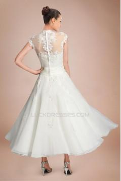 A-line Short Sleeves Tea Length Lace Bridal Wedding Dresses WD010290