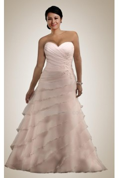 A-line Sweetheart Court Train Plus Size Bridal Wedding Dresses WD010293