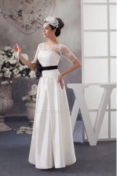 A-line Short Sleeves Bridal Wedding Dresses WD010294