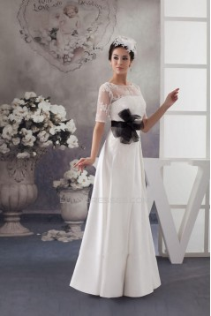 A-line Short Sleeves Bridal Wedding Dresses WD010294