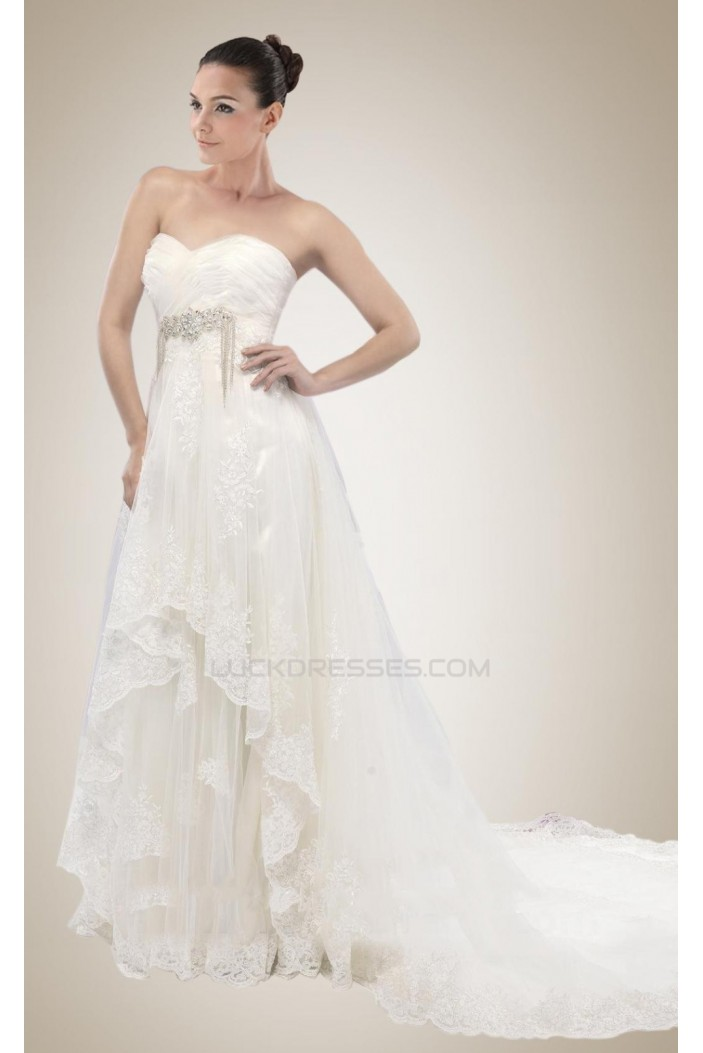 Empire Sweetheart Court Train Lace Bridal Wedding Dresses WD010296