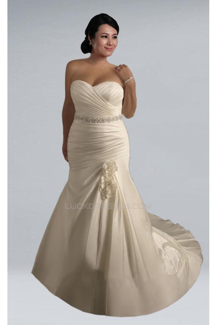 Trumpet/Mermaid Sweetheart Plus Size Beaded Bridal Wedding Dresses WD010298