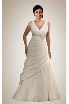 Elegant V-neck Plus Size Bridal Wedding Dresses WD010308