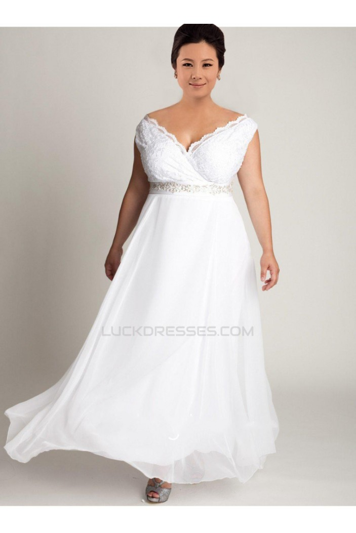 A-line Off the Shoulder Lace and Chiffon Plus Size Bridal Wedding Dresses WD010309