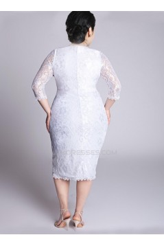 Sheath 3/4 Sleeves V-neck Lace Short Plus Size Bridal Wedding Dresses WD010310