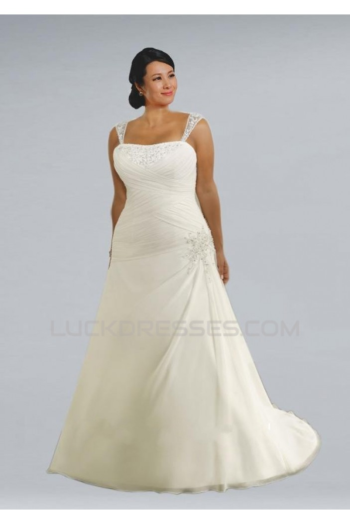 A-line Straps Sleeveless Plus Size Bridal Wedding Dresses WD010311