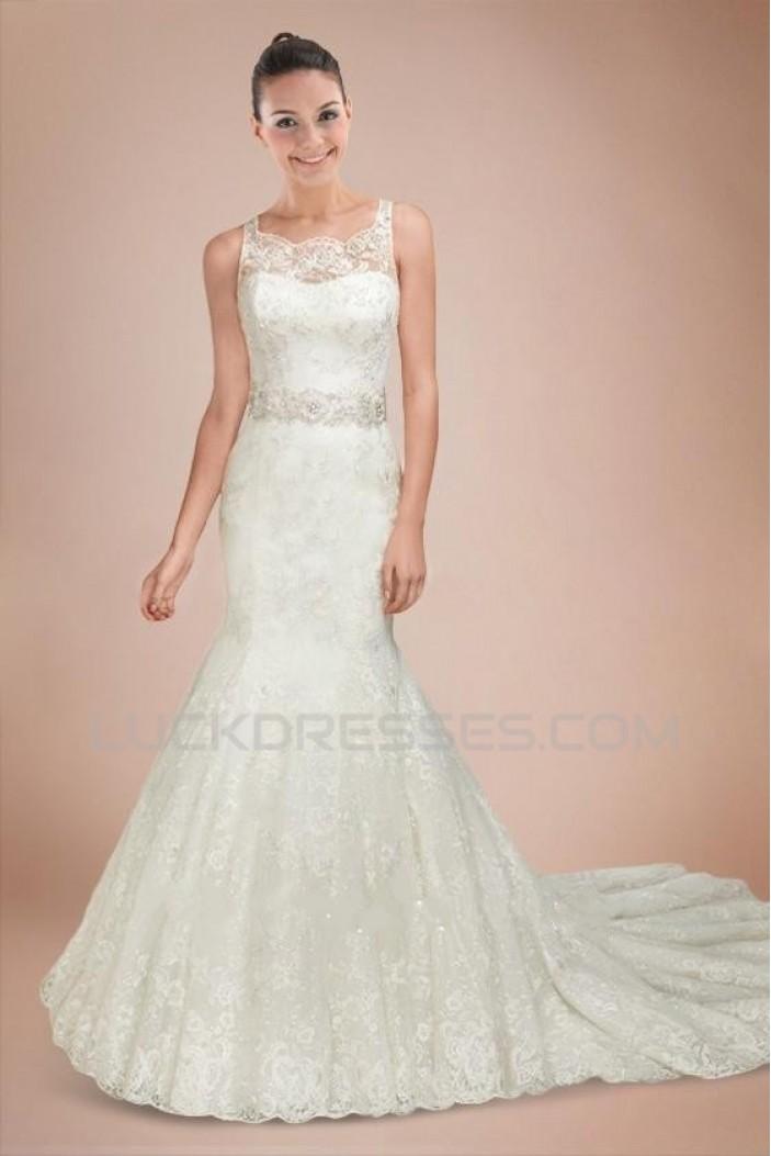 Trumpet/Mermaid Court Train Beaded Bridal Wedding Dresses WD010315