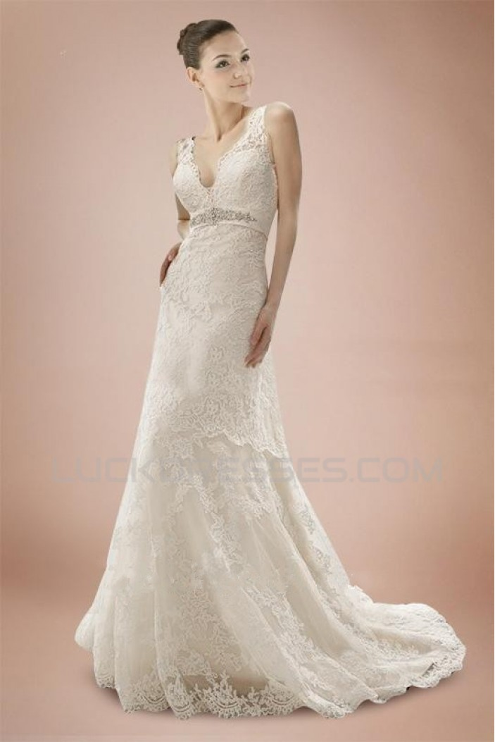 Elegant V-neck Straps Lace Bridal Wedding Dresses WD010319