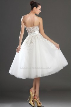 A-line Strapless Short Bridal Wedding Dresses WD010326