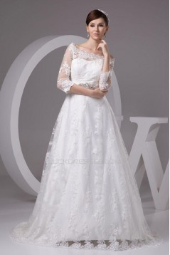 A-line Off the Shoulder 3/4 Sleeves Lace Bridal Wedding Dresses WD010327