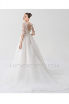 A-line Half Sleeves Lace Bridal Wedding Dresses WD010330