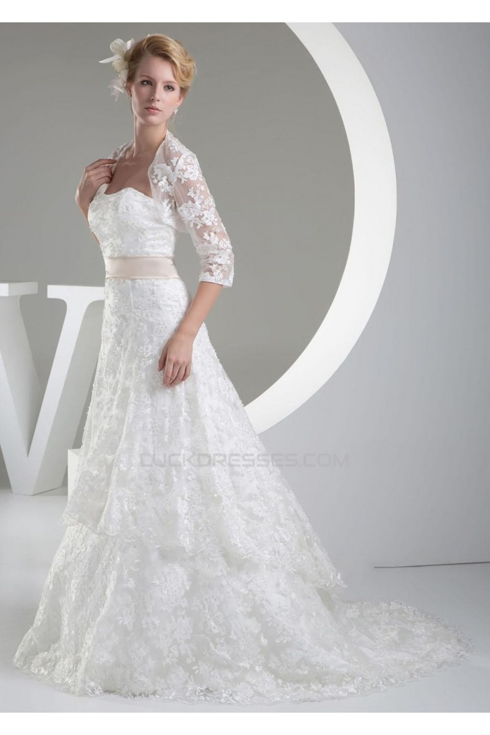 A-line Strapless Court Train Lace Bridal Wedding Dresses with A Jacket WD010332