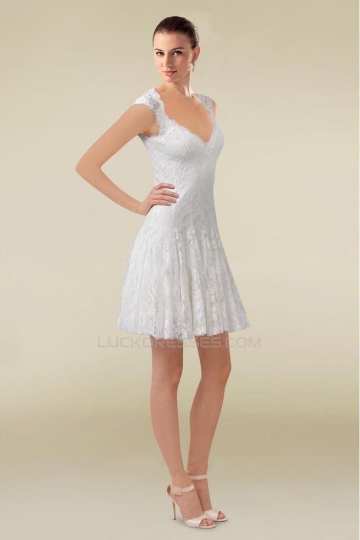 A-line Short V-neck Lace Bridal Wedding Dresses WD010335