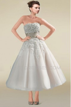A-line Strapless Short Lace Bridal Wedding Dresses WD010337