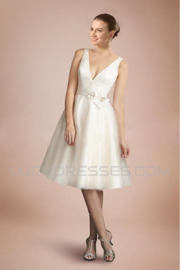 A-line V-neck Short Bridal Wedding Dresses WD010339