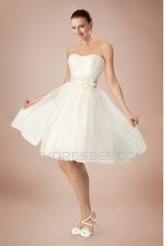 A-line Strapless Short Bridal Wedding Dresses WD010342