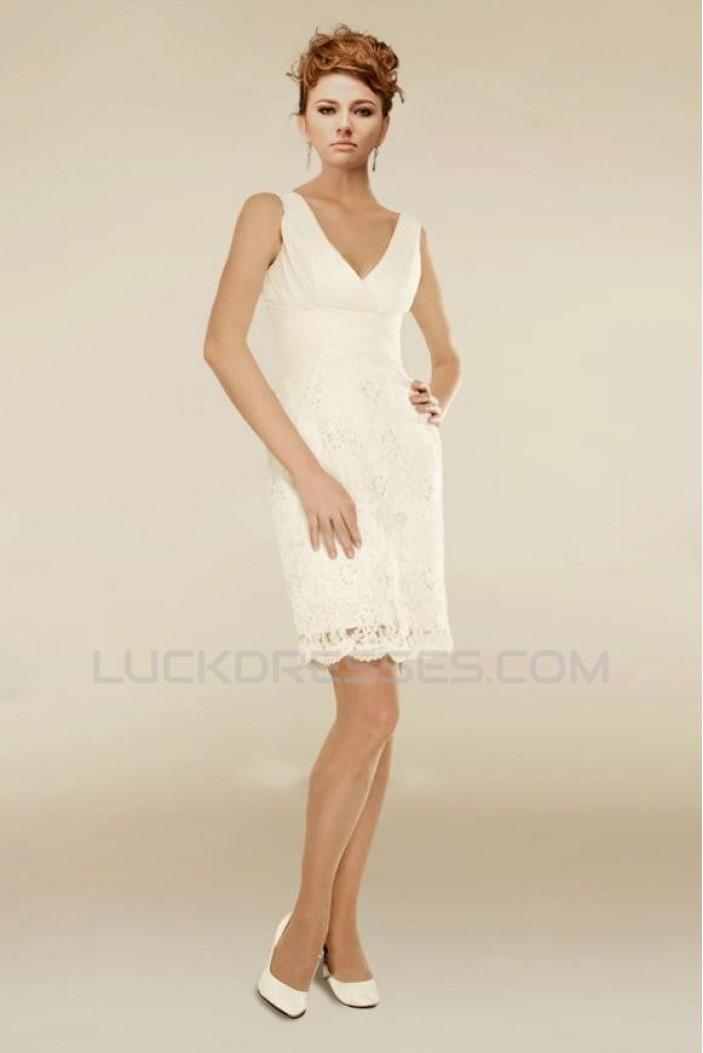 Short V-neck Bridal Wedding Dresses WD010343