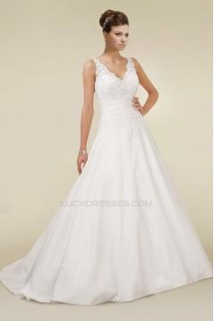 A-line V-neck Lace Bridal Wedding Dresses WD010345