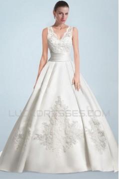 A-line V-neck Lace Bridal Wedding Dresses WD010346
