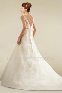 A-line V-neck Beaded Lace Bridal Wedding Dresses WD010348