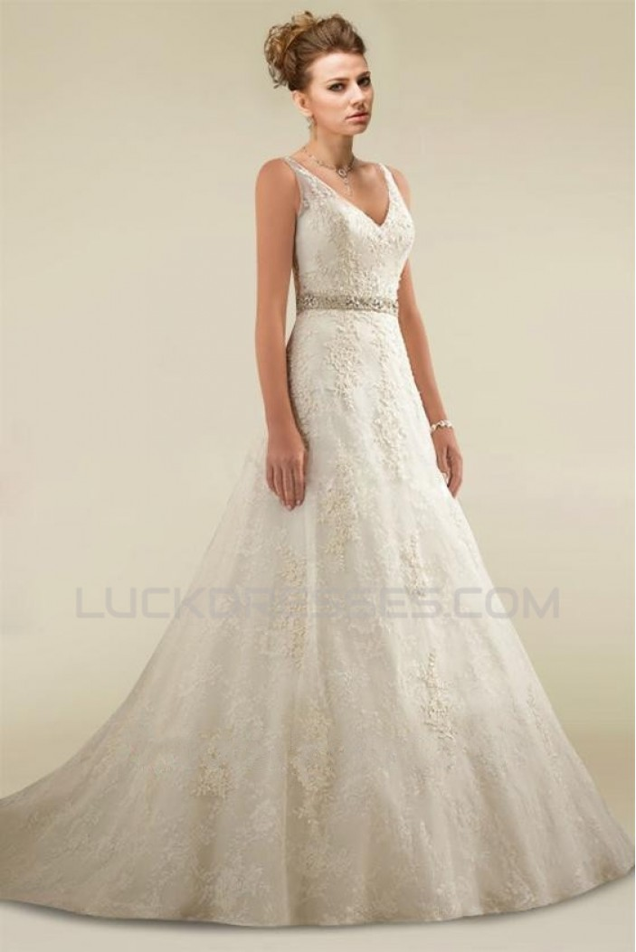A-line V-neck Beaded Lace Bridal Wedding Dresses WD010348