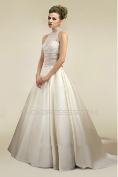 A-line Lace and Satin Bridal Wedding Dresses WD010350