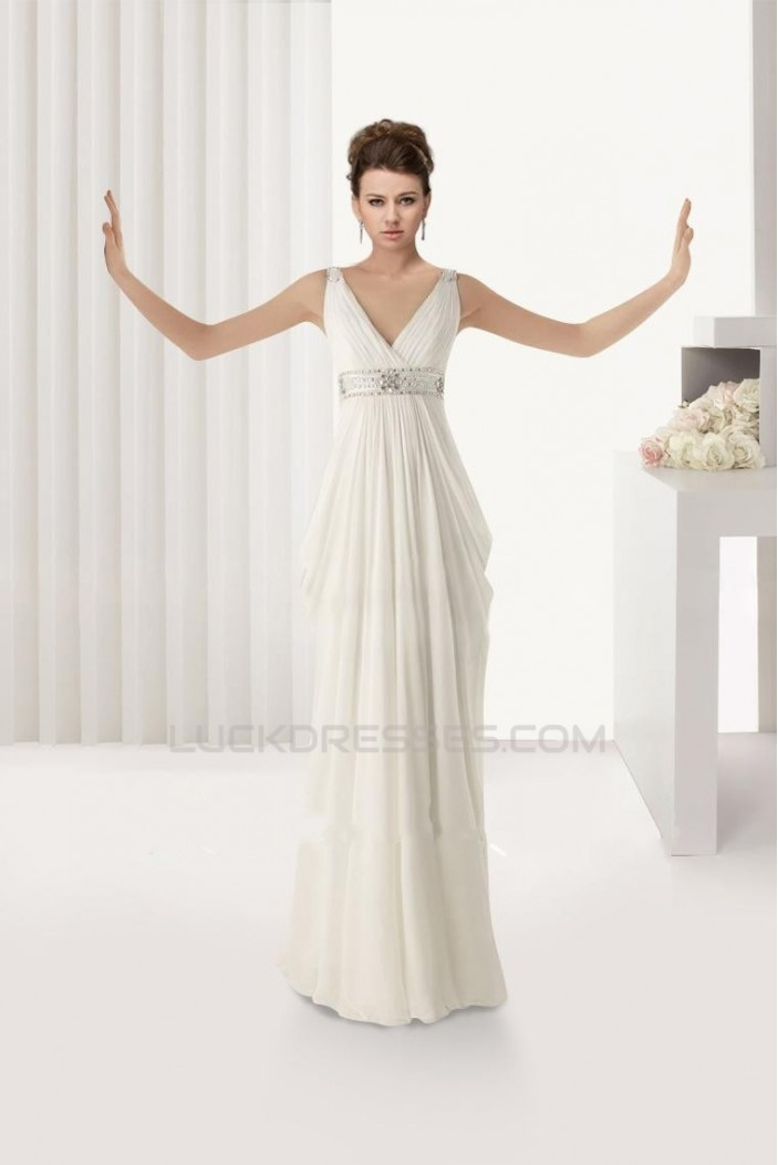 Empire V-neck Beaded Chiffon Maternity Bridal Wedding Dresses WD010352