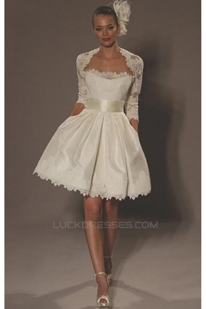 A-line Strapless Short Bridal Wedding Dresses with A Lace Jacket WD010355
