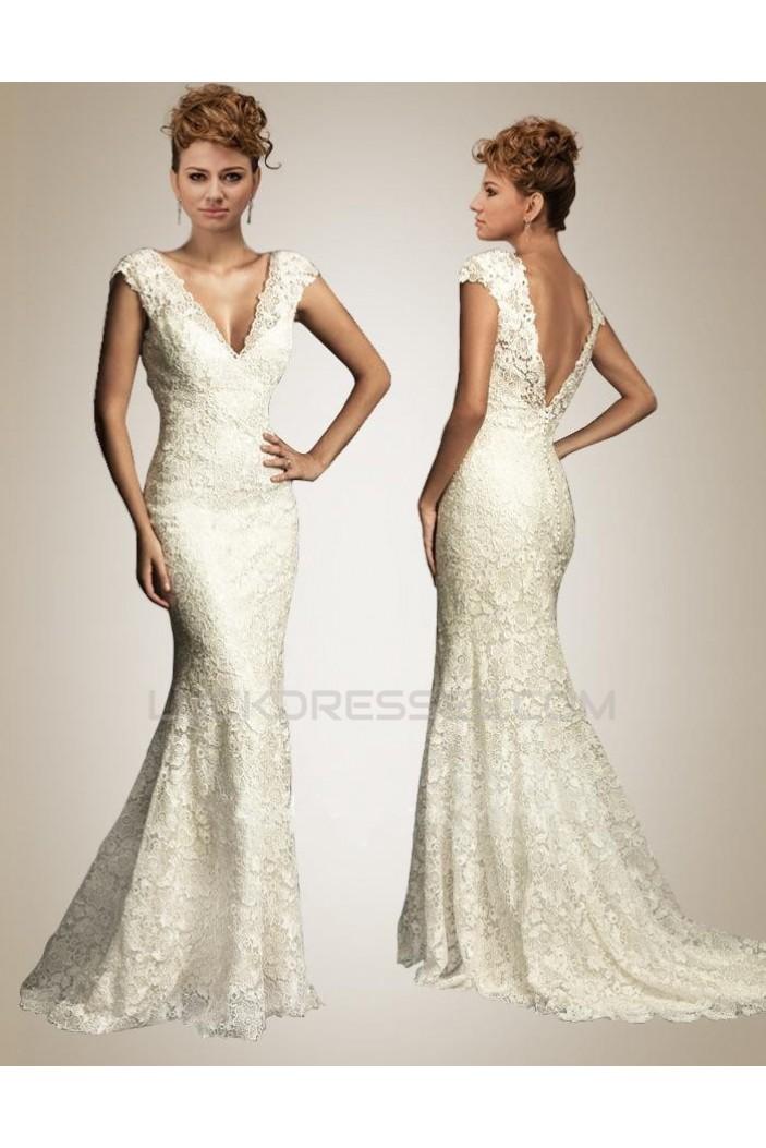 Trumpet/Mermaid V-neck Court Train Lace Bridal Wedding Dresses WD010356