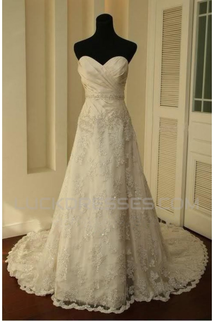 A-line Sweetheart Court Train Lace Bridal Wedding Dresses WD010357