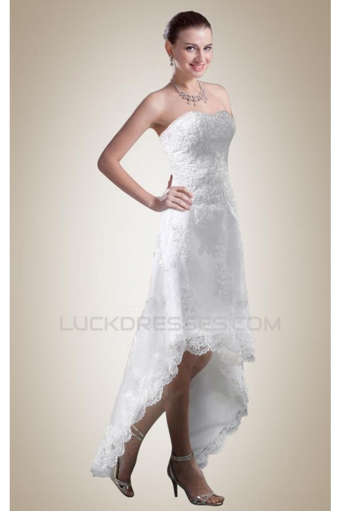 High Low Strapless Lace Applique Bridal Wedding Dresses WD010358