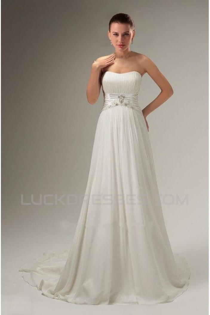 A-line Strapless Sweep Train Chiffon Bridal Wedding Dresses WD010359