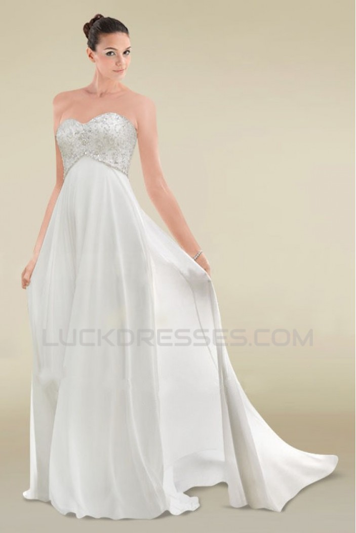 Empire Sweetheart Maternity Beaded Chiffon Bridal Wedding Dresses WD010360